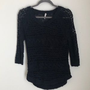 Willow & Clay Open Weave Navy Sweater